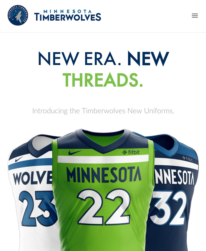MN Timberwolves New Threads Project: Mobile View, Hero Section