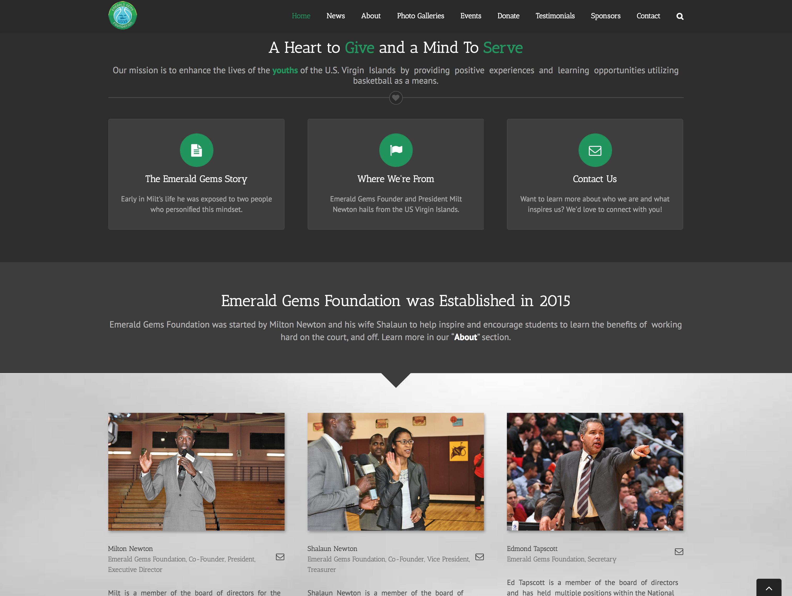 Emerald Gems, Home Page, Desktop