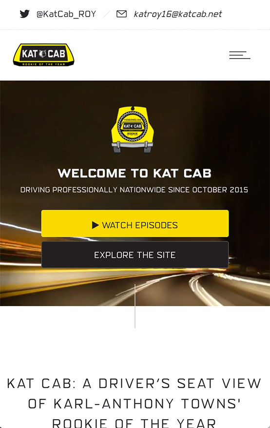 Kat Cab Hero Spot, Mobile View