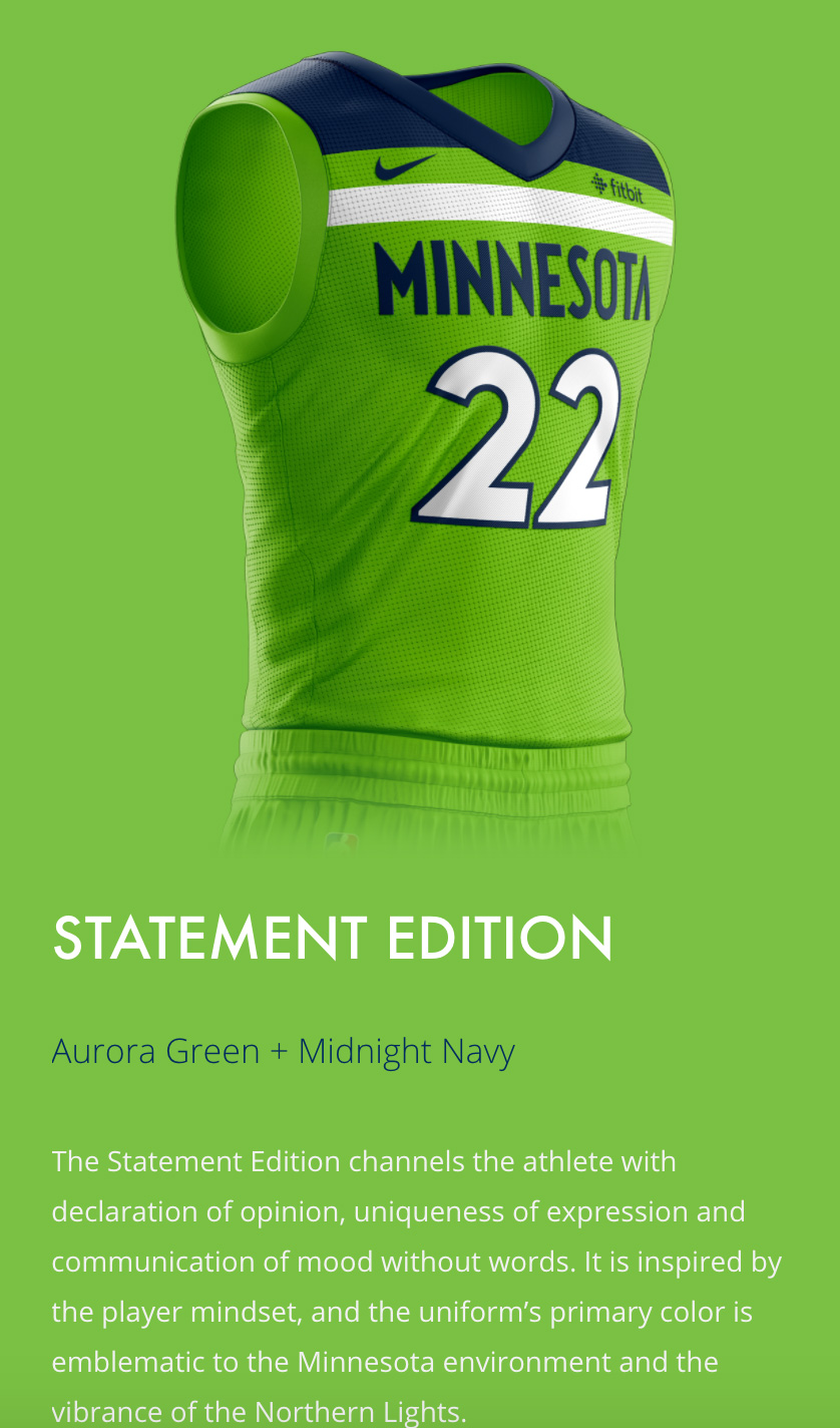 MN Timberwolves New Threads Project: Mobile View, Statement Edition Description Section