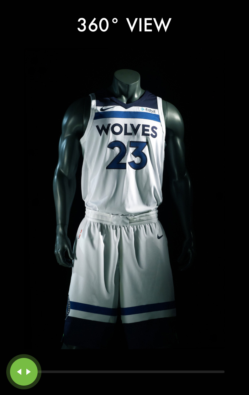 MN Timberwolves New Threads Project: Mobile View, 360 Viewer Interactive Section