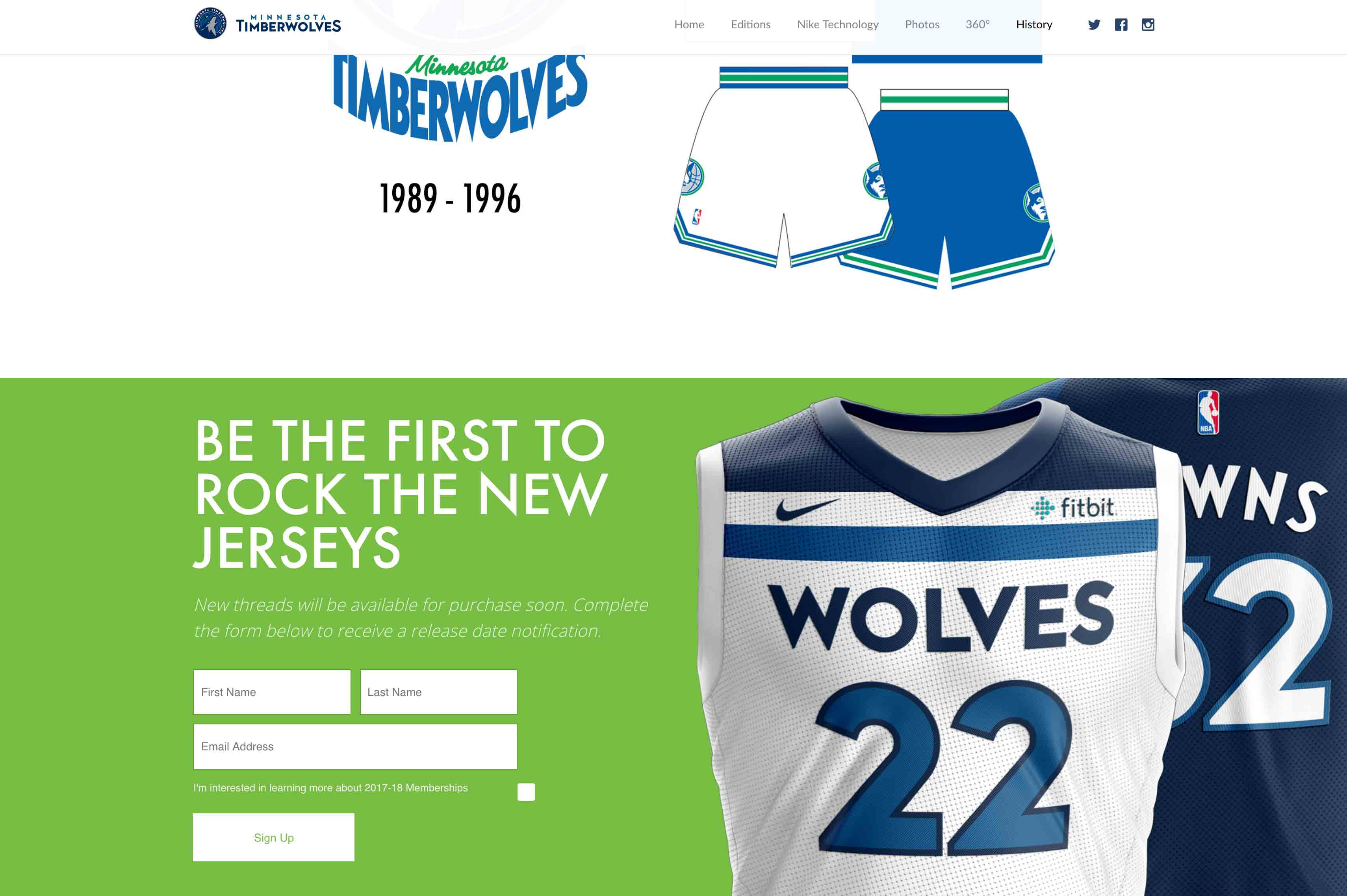 MN Timberwolves New Threads Project: Desktop View, Lead Generation Section