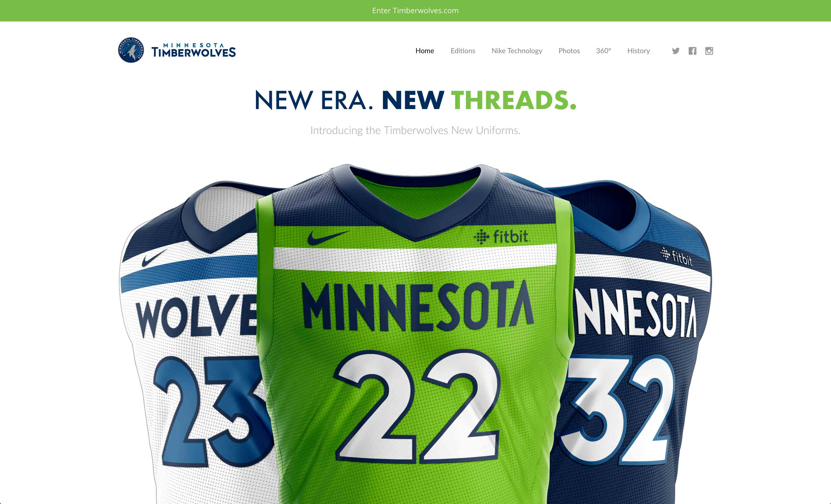 MN Timberwolves New Threads Project: Desktop View, Hero Section