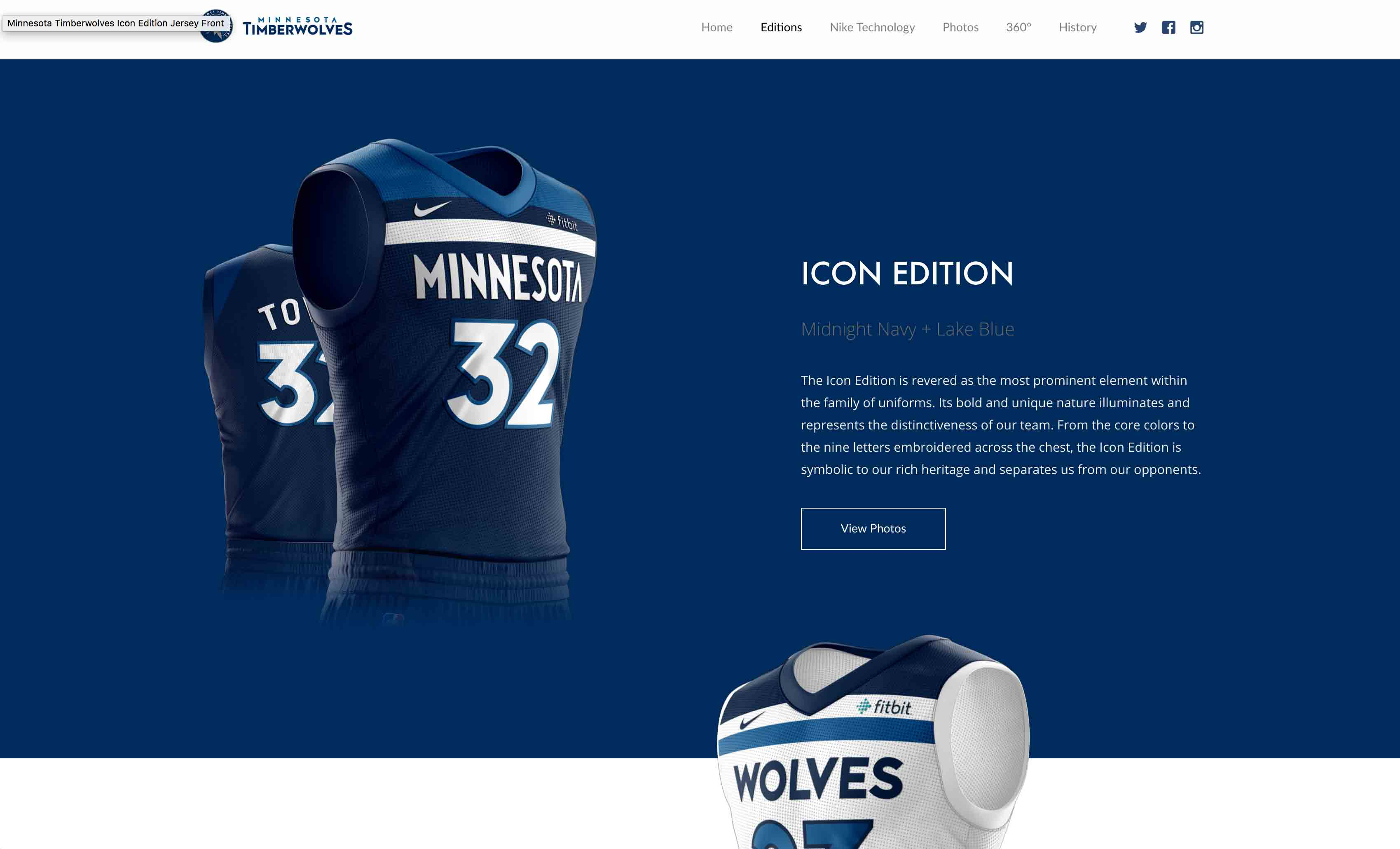 MN Timberwolves New Threads Project: Desktop View, Icon Edition Section