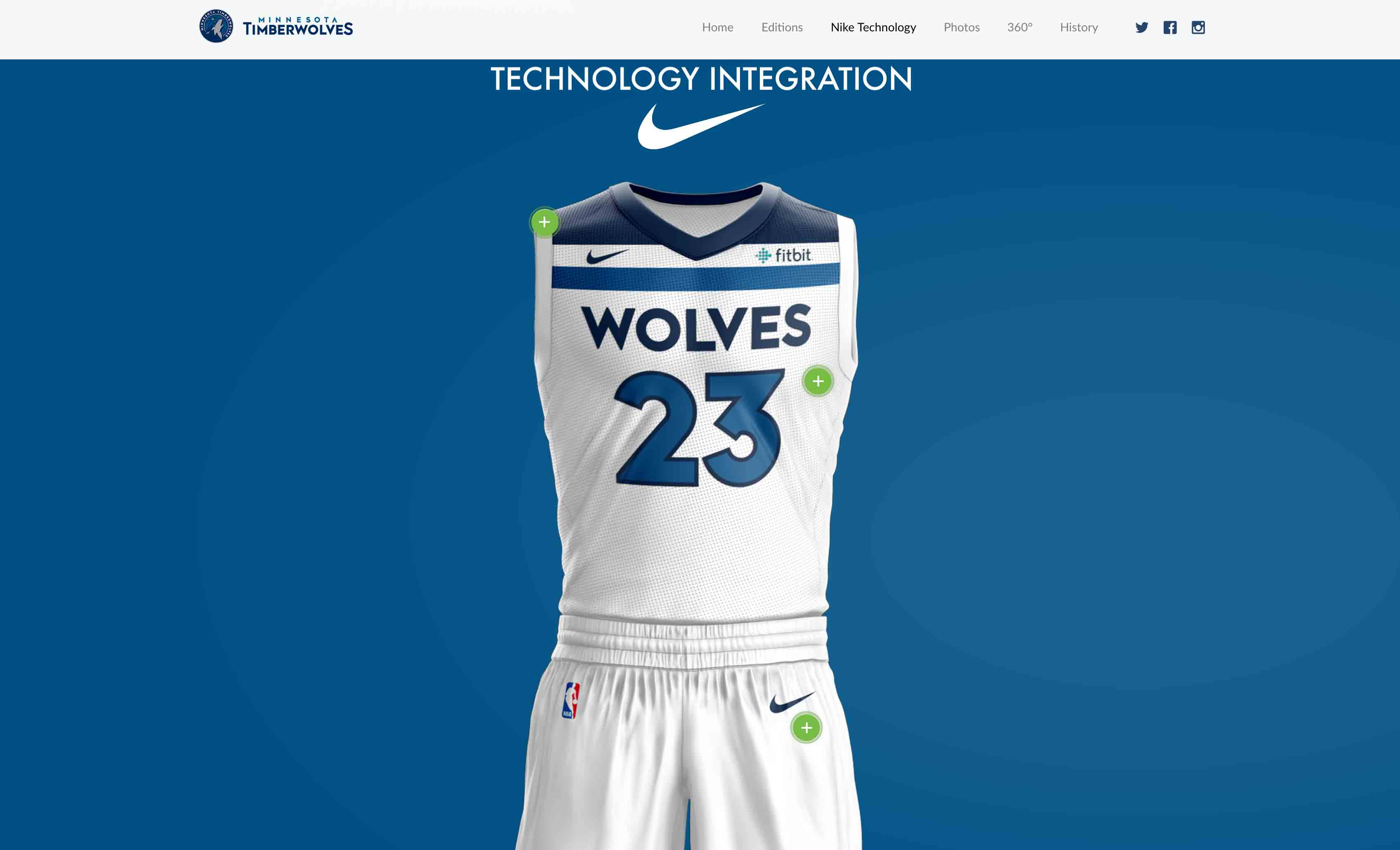 MN Timberwolves New Threads Project: Desktop View, Nike Technology Interactive Section