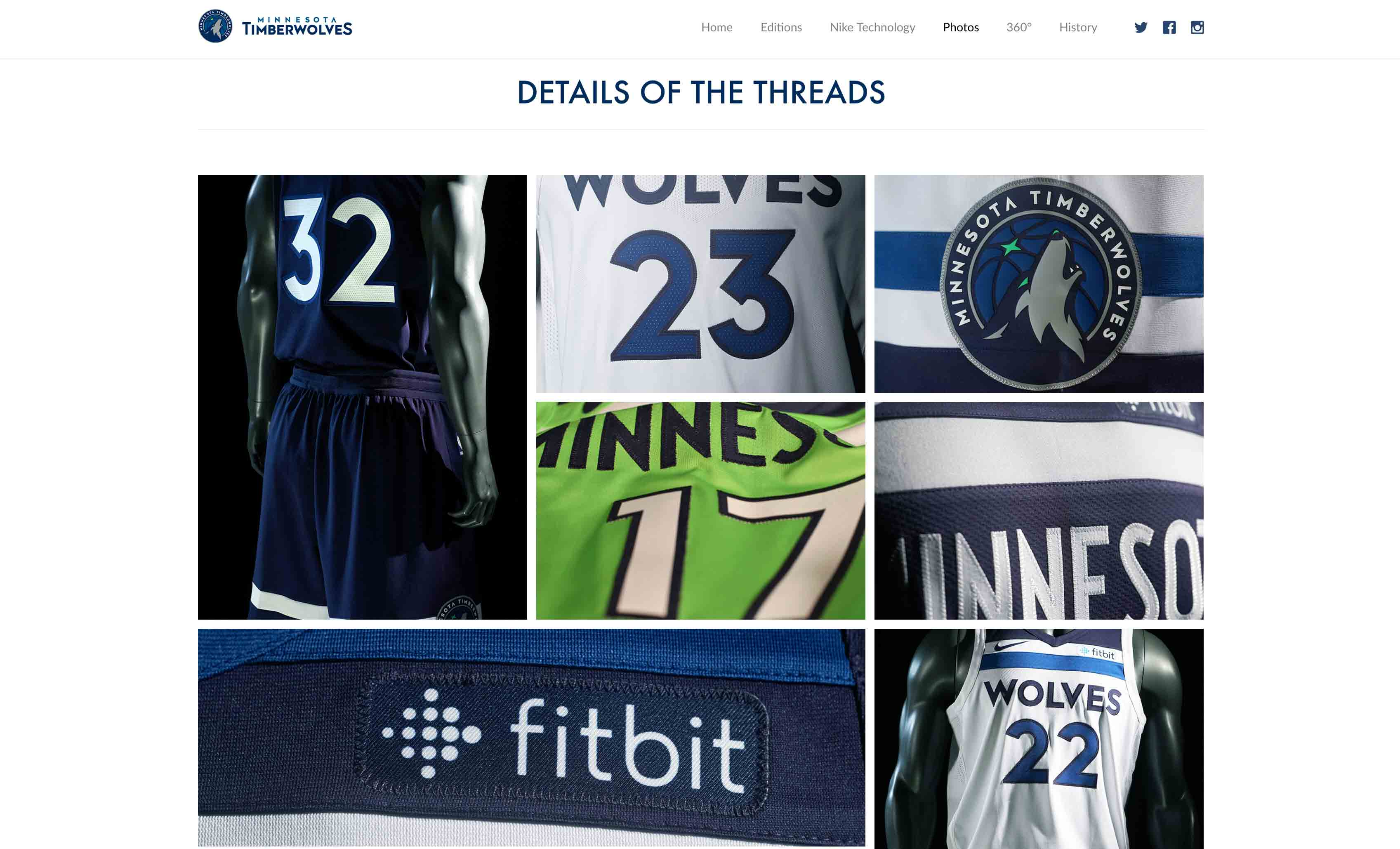 MN Timberwolves New Threads Project: Desktop View, Photo Gallery Section