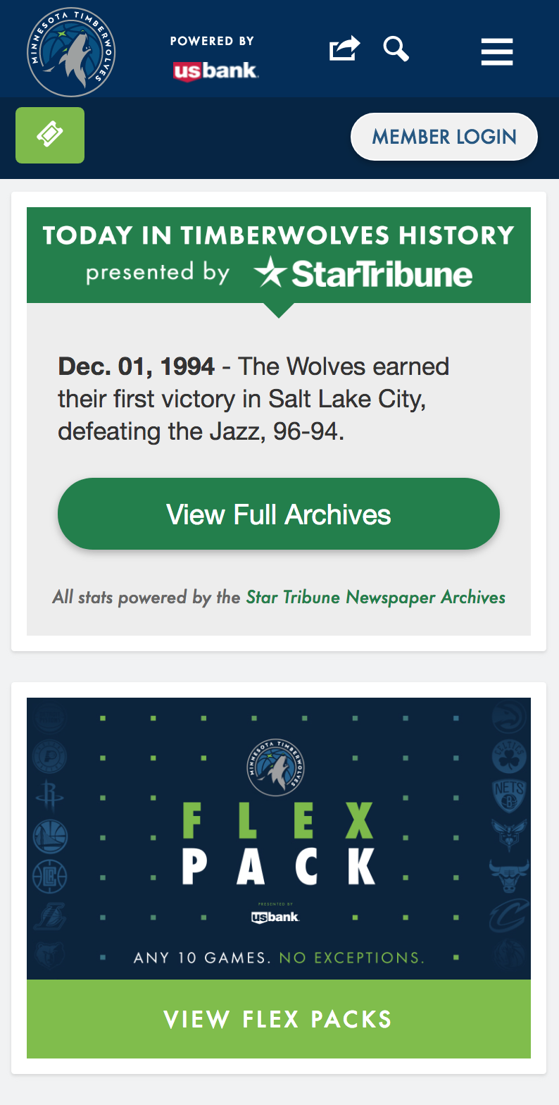 Timberwolves Home Page Redesign, Mobile