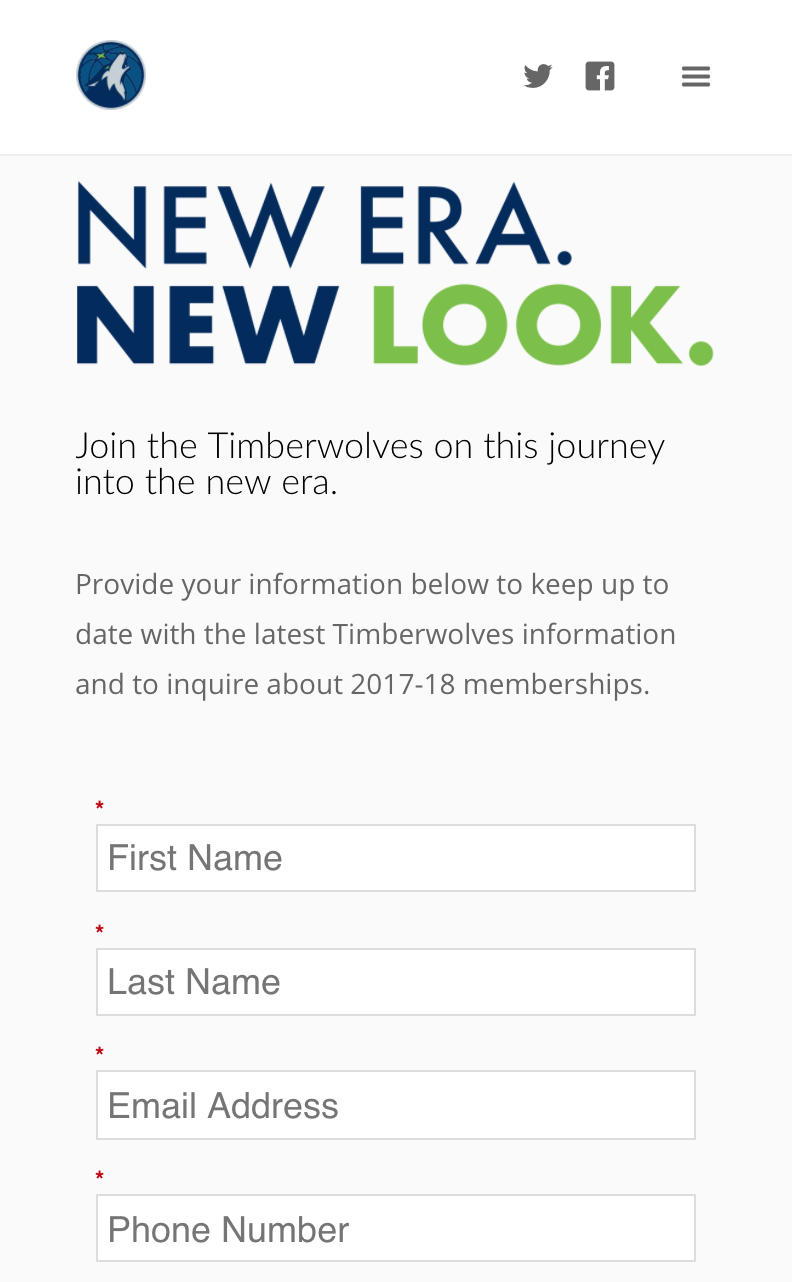 Timberwolves New Logo Unveil, Lead Generation, Mobile