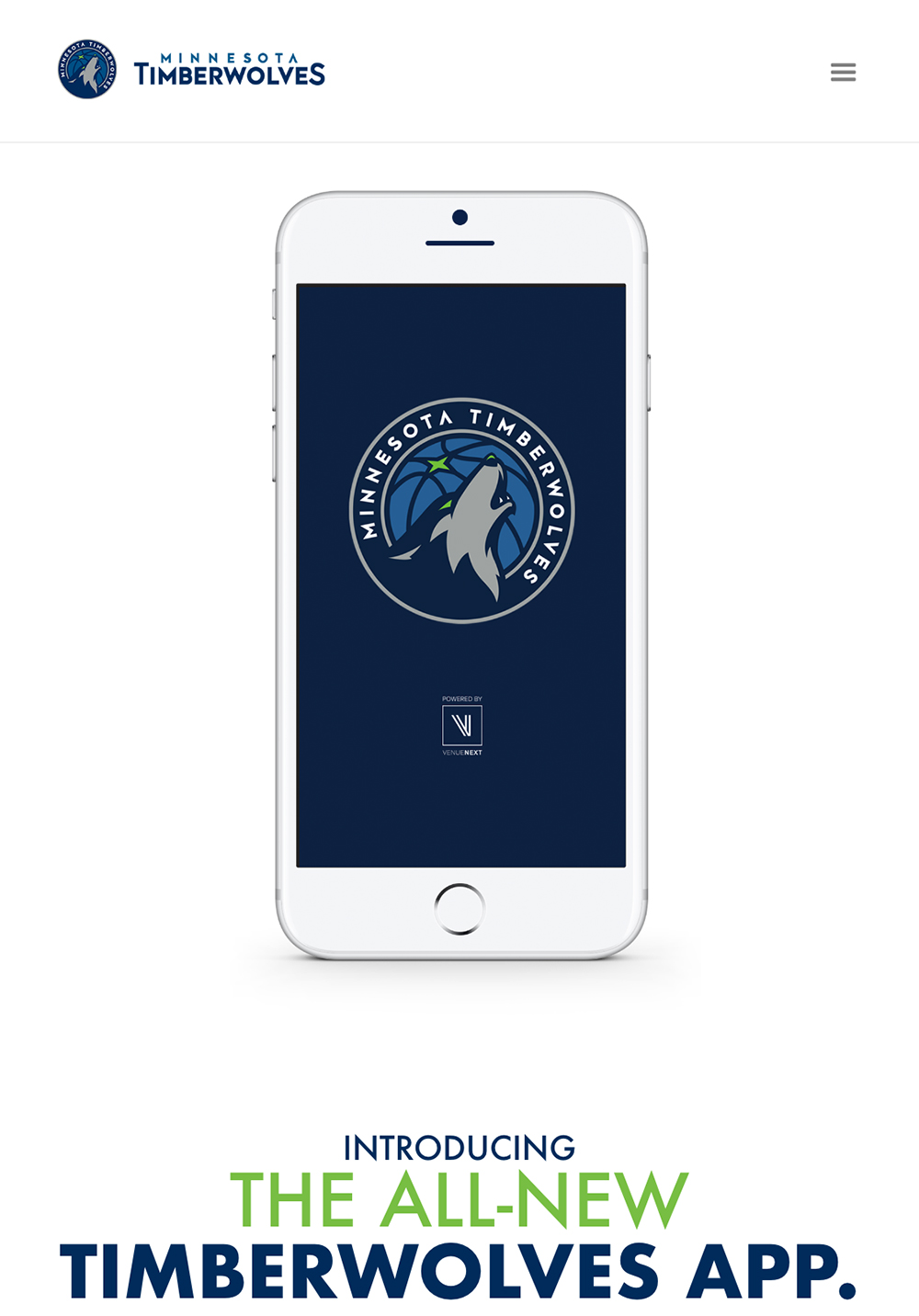 Timberwolves Mobile App, Hero Spot, Mobile View
