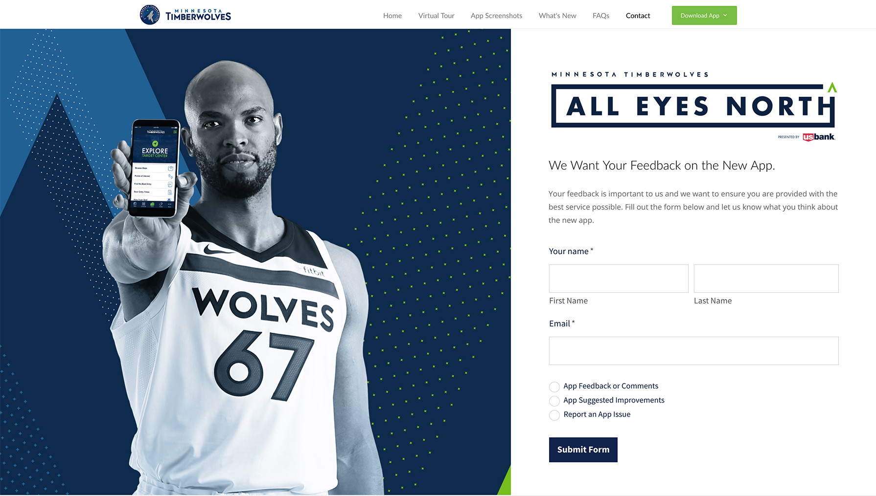 Timberwolves Mobile App, Lead Generation, Desktop View