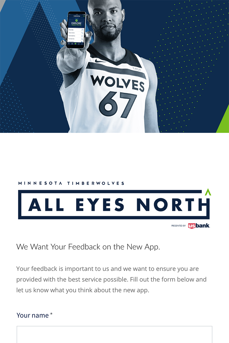 Timberwolves Mobile App, Lead Generation, Mobile View