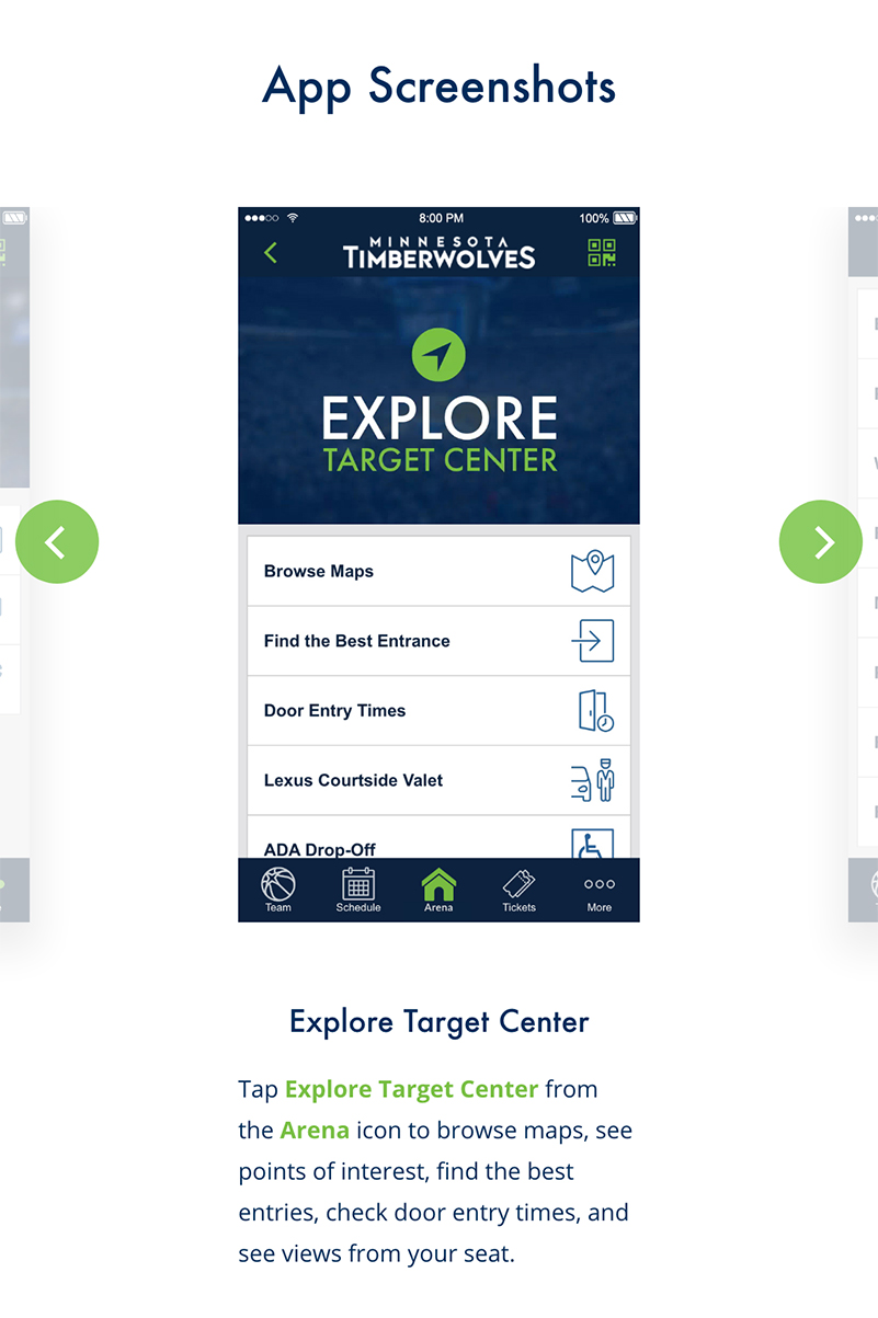 Timberwolves Mobile App, Screenshot Slider, Mobile View