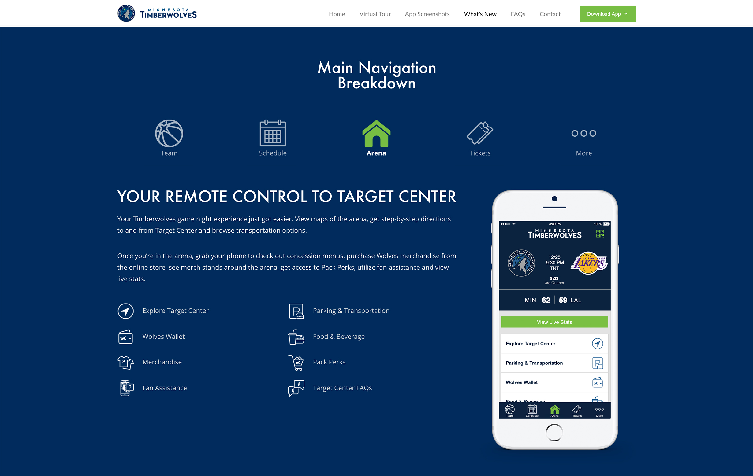 Timberwolves Mobile App, Tabbed Navigation Breakdown, Desktop View