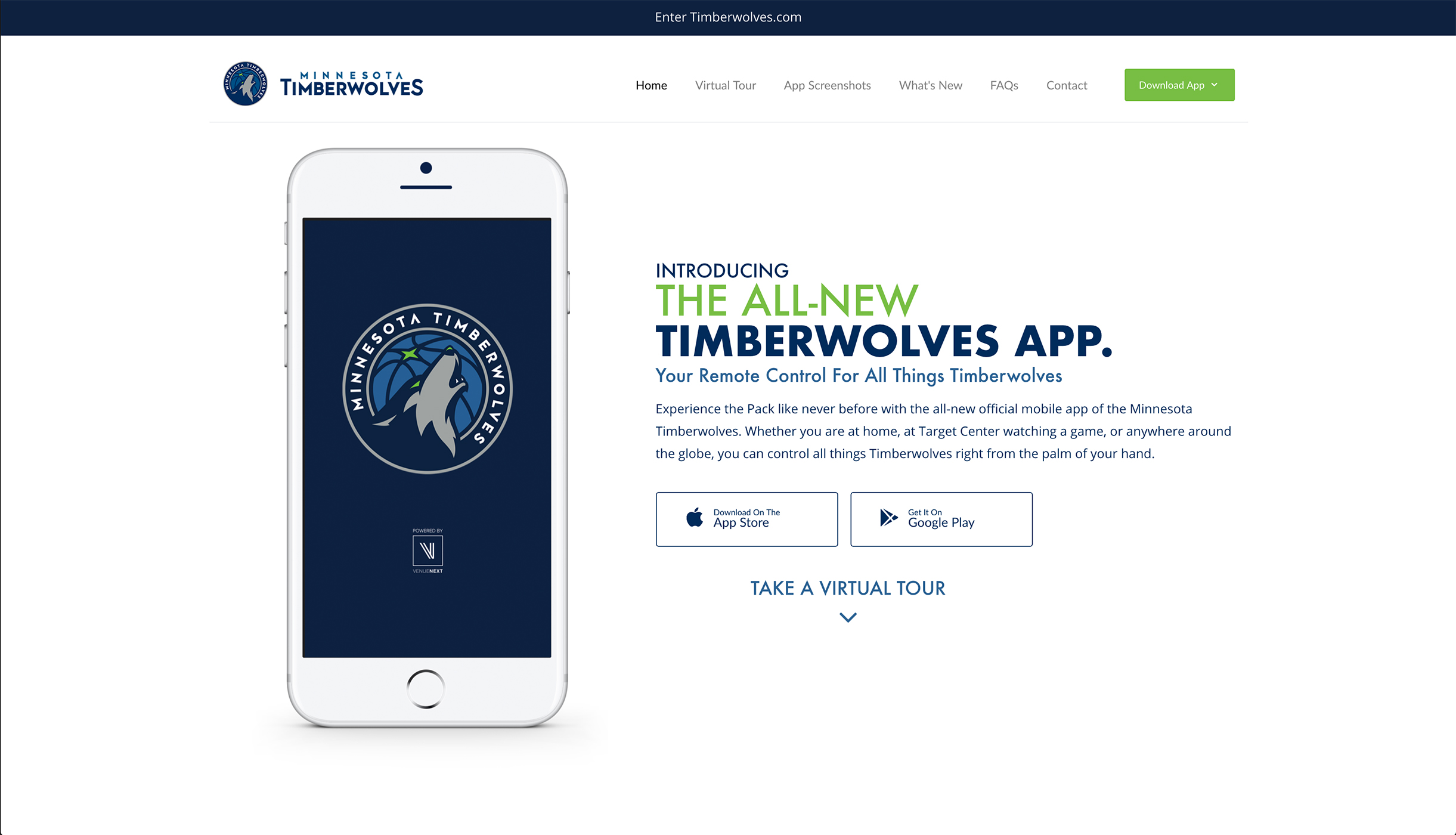 Timberwolves Mobile App, Hero Spot, Desktop View