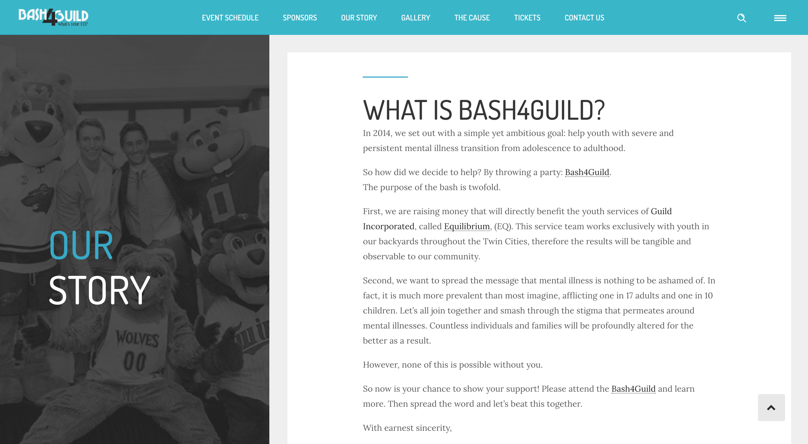 Bash4Guild Event Site, Our Story Section, Desktop