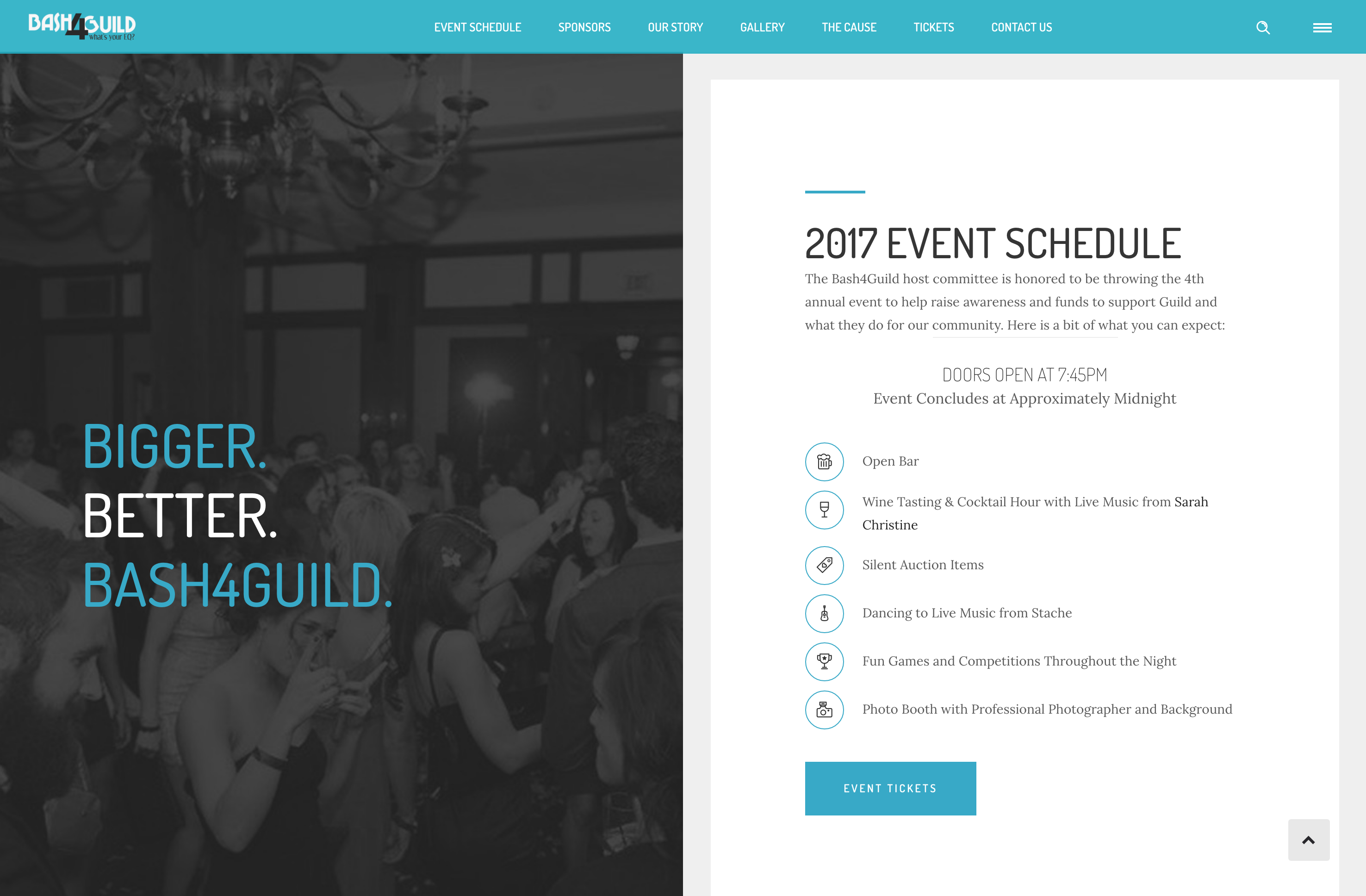 Bash4Guild Event Site, Event Schedule, Desktop