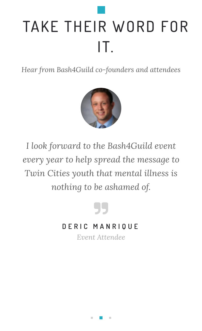 Bash4Guild Event Site, Testimonials , Mobile