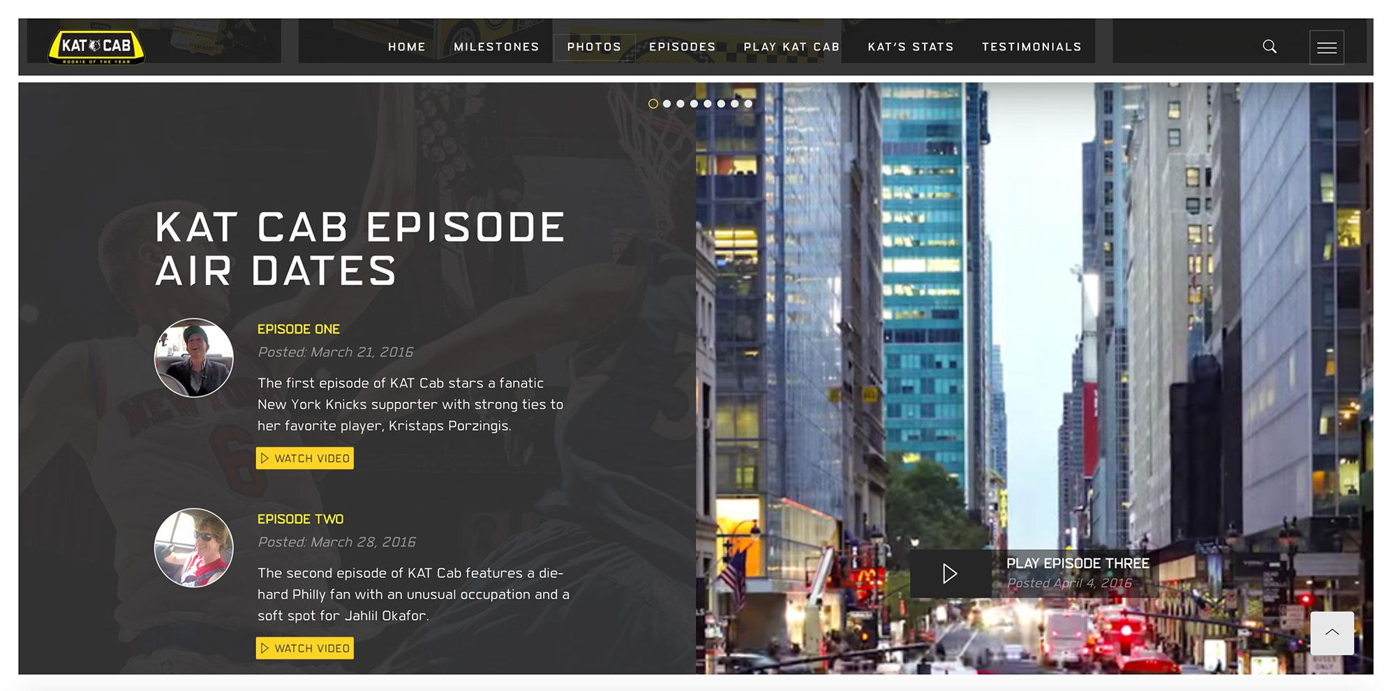 Kat Cab Episodes Spot, Desktop View