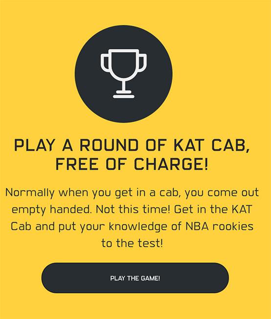 Kat Cab Trivia Game Spot, Mobile View