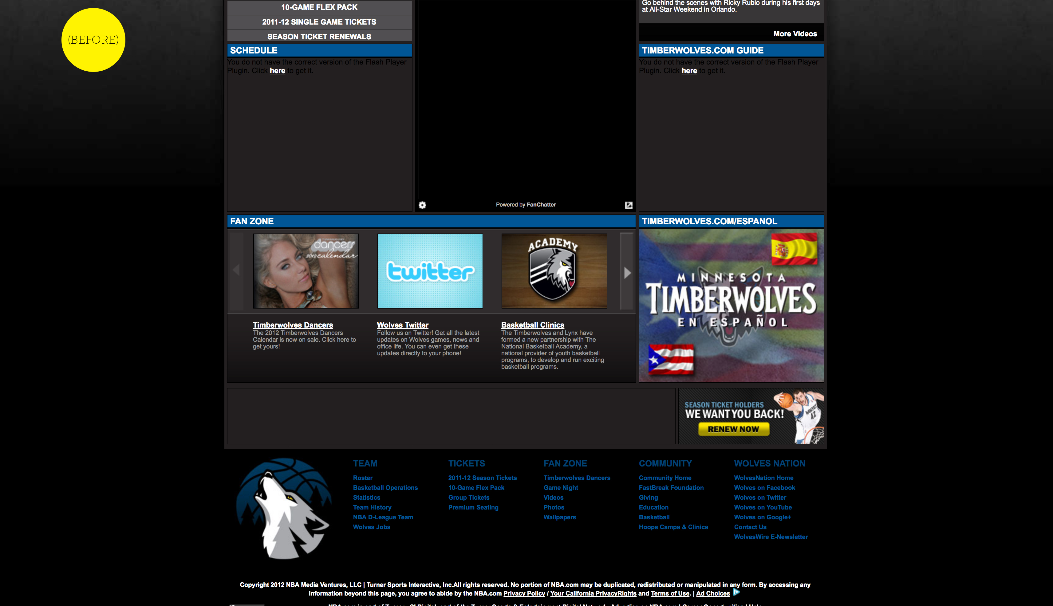 BEFORE REDESIGN: Timberwolves Home Page, Desktop