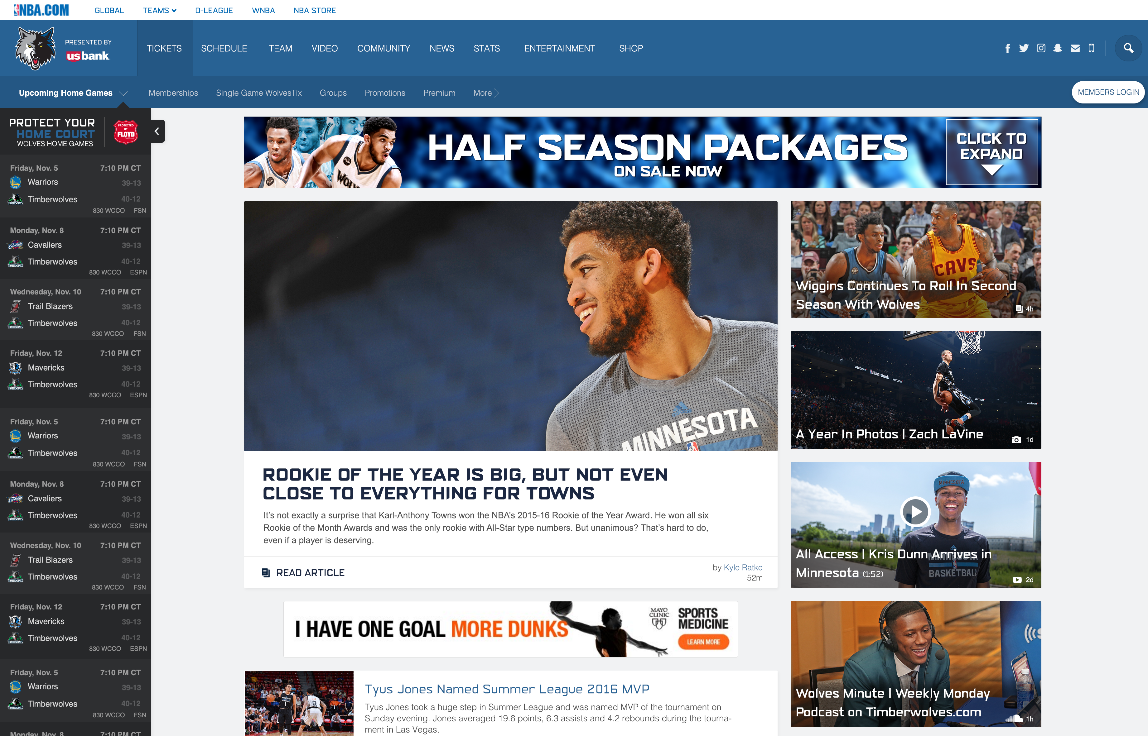 Timberwolves Home Page Redesign, Desktop