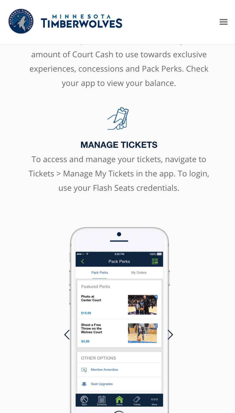 Timberwolves New Sales Microsite Mobile
